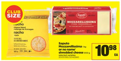 Saputo Mozzarellissima - 1 Kg Or No Name Shredded Cheese - 900 g