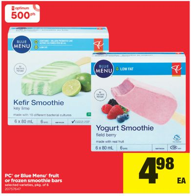 PC Or Blue Menu Fruit Or Frozen Smoothie Bars - Pkg of 6