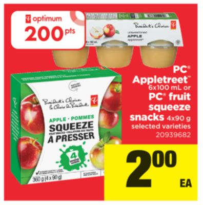 PC Appletreet - 6x100 Ml Or PC Fruit Squeeze Snacks - 4x90 g