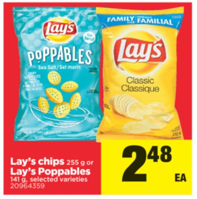 Lay's Chips - 255 g Or Lay's Poppables - 141 g