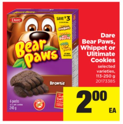 Dare Bear Paws - Whippet Or Ultimate Cookies - 113-250 g