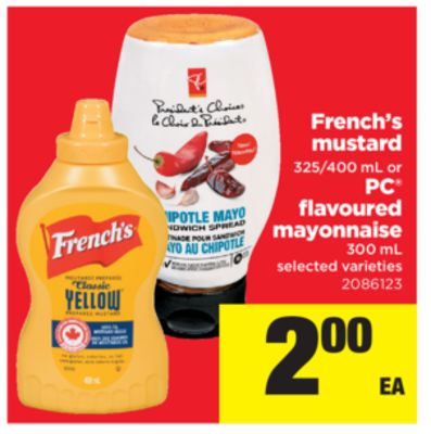 French's Mustard - 325/400 mL Or PC Flavoured Mayonnaise - 300 mL