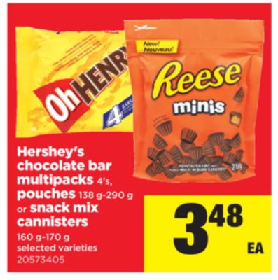 Hershey's Chocolate Bar Multipacks - 4's - Pouches - 138 G-290 g Or Snack Mix Cannisters - 160 G-170 g