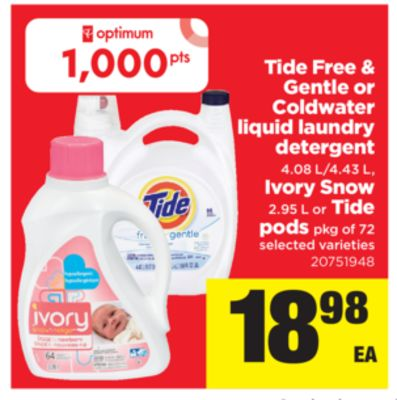 Tide Free & Gentle Or Coldwater Liquid Laundry Detergent 4.08 L/4.43 L - Ivory Snow - 2.95 L Or Tide PODS - Pkg of 72