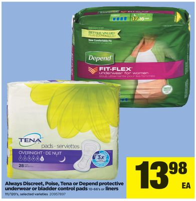 Always Discreet - Poise - Tena Or Depend Protective Underwear Or Bladder Control Pads - 10-66's Or Liners - 111/120's