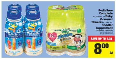 Pediasure Complete 4x235 Ml Or Baby Gourmet Shakers - 4x244 mL Toddler Supplement