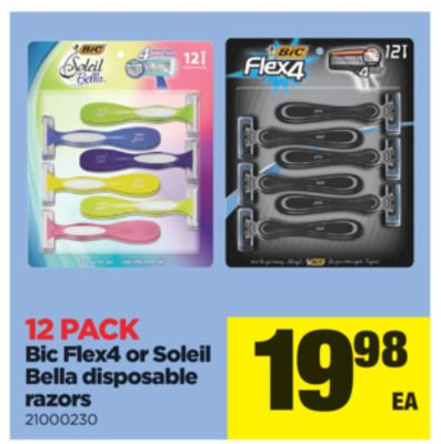 Bic Flex4 Or Soleil Bella Disposable Razors - 12 Pack