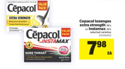 Cepacol Lozenges Extra Strength - 36's Or Instamax - 24's