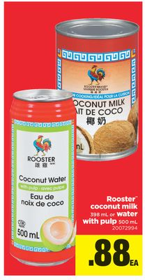 Rooster Coconut Milk 398 Ml Or Water With Pulp 500 Ml