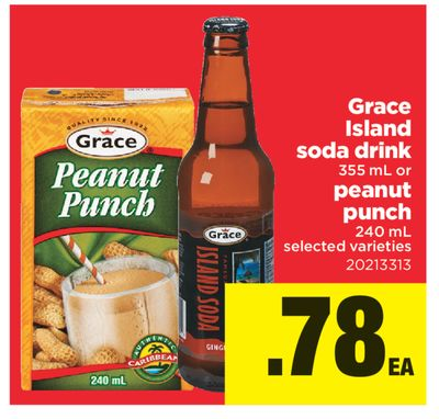 Grace Island Soda Drink 355 Ml Or Peanut Punch 240 Ml