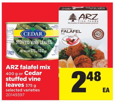Arz Falafel Mix 400 G Or Cedar Stuffed Vine Leaves 375 G
