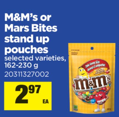 M&m's Or Mars Bites Stand Up Pouches - 162-230 G