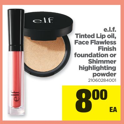 E.l.f. Tinted Lip Oil - Face Flawless Finish Foundation Or Shimmer Highlighting Powder