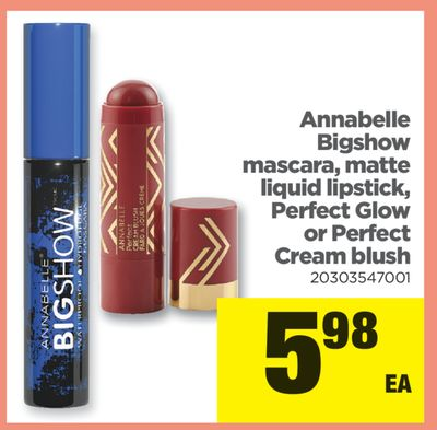 Annabelle Bigshow Mascara - Matte Liquid Lipstick - Perfect Glow Or Perfect Cream Blush