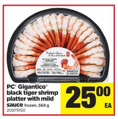 PC Gigantico Black Tiger Shrimp Platter With Mild Sauce Frozen - 568 G