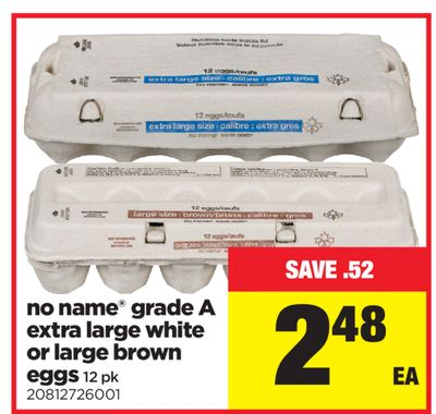 No Name Grade A Extra Large White Or Large Brown Eggs - 12 Pk