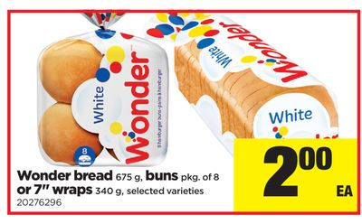 Wonder Bread 675 g - Buns - Pkg of 8 Or 7'' Wraps - 340 g