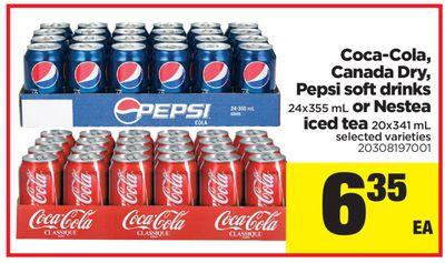 Coca-cola - Canada Dry - Pepsi Soft Drinks - 24x355 mL Or Nestea Iced Tea - 20x341 mL