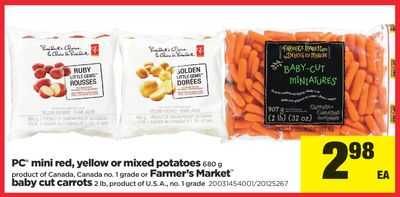 PC Mini Red - Yellow Or Mixed Potatoes - 680 g or Farmer's Market Baby Cut Carrots - 2 Lb