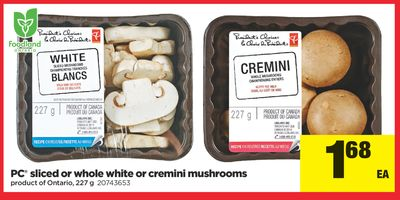 PC Sliced Or Whole White Or Cremini Mushrooms - 227 g