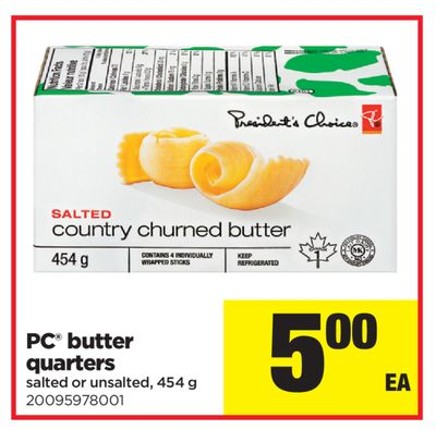 PC Butter Quarters - 454 g