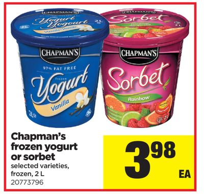 Chapman's Frozen Yogurt Or Sorbet - 2 L