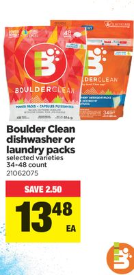 Boulder Clean Dishwasher Or Laundry Packs - 34-48 Count