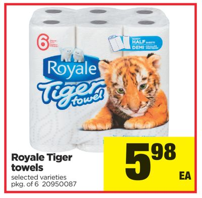 Royale Tiger Towels - Pkg of 6
