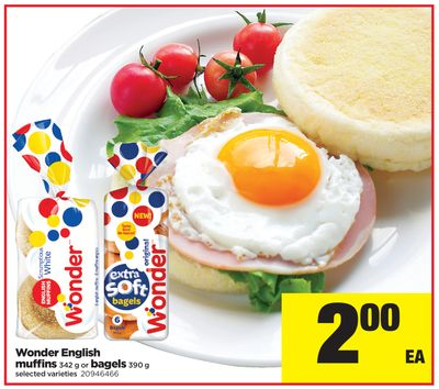 Wonder English Muffins - 342 g or Bagels - 390 g