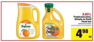 Tropicana Juice - Simply Or Gold Peak Tea - 2.63 L