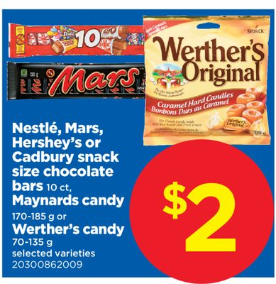 Nestlé - Mars - Hershey's Or Cadbury Snack Size Chocolate Bars 10 Ct - Maynards Candy 170-185 g or Werther's Candy 70-135 g