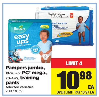 Pampers Jumbo - 19-26's Or PC Mega - 20-44's - Training Pants