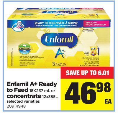 Enfamil A+ Ready To Feed - 18x237 mL Or Concentrate - 12x385l