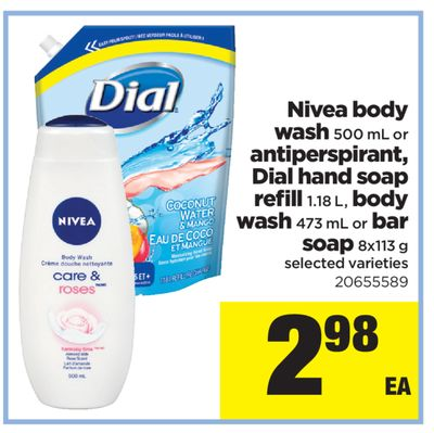 Nivea Body Wash - 500 mL Or Antiperspirant - Dial Hand Soap Refill - 1.18 L - Body Wash - 473 mL Or Bar Soap - 8x113 g