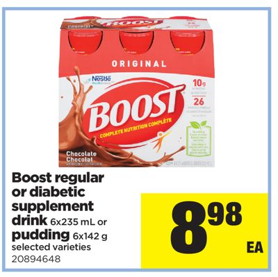 Boost Regular Or Diabetic Supplement Drink - 6x235 mL or Pudding - 6x142 g