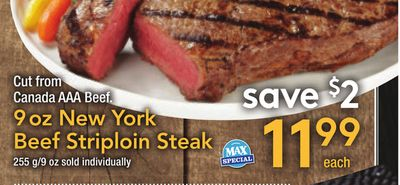 9 Oz New York Beef Striploin Steak