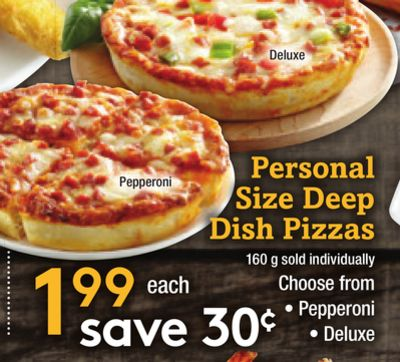 Personal Size Deep Dish Pizzas