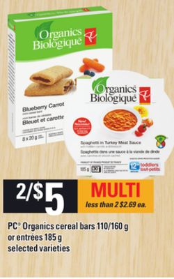 PC Organics Cereal Bars - 110/160 G Or Entrées - 185 G