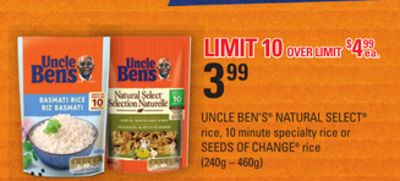 Uncle Ben's Natural Select Rice - 10 Minute Specialty Rice or Seeds Of Change Rice - (240g – 460g)