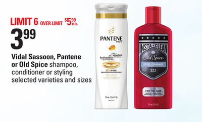 Vidal Sassoon - Pantene or Old Spice Shampoo - Conditioner Or Styling