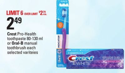 Crest Pro-health Toothpaste - 80-130 Ml Or Oral-b Manual Toothbrush