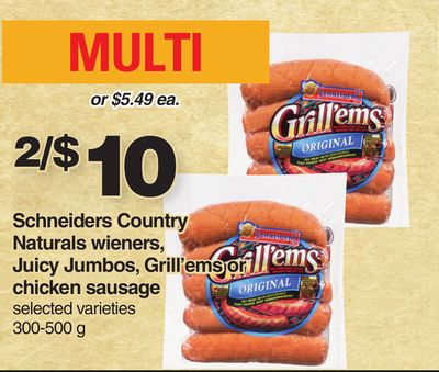 Schneiders Country Naturals Wieners - Juicy Jumbos - Grill'ems Or Chicken Sausage - 300-500 g