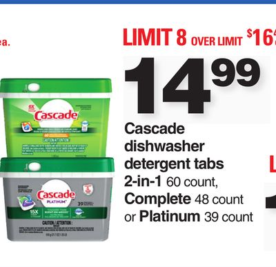 Cascade Dishwasher Detergent Tabs 2-in-1 60 Count - Complete 48 Count Or Platinum 39 Count