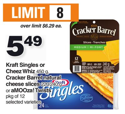 Kraft Singles Or Cheez Whiz - 450 G - Cracker Barrel Natural Cheese Slices - 220/240 G - Or Amooza! Twists - Pkg Of 12