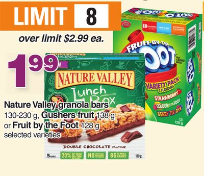 Nature Valley Granola Bars 130-230 G - Gushers Fruit 138 G Or Fruit By The Foot 128 G