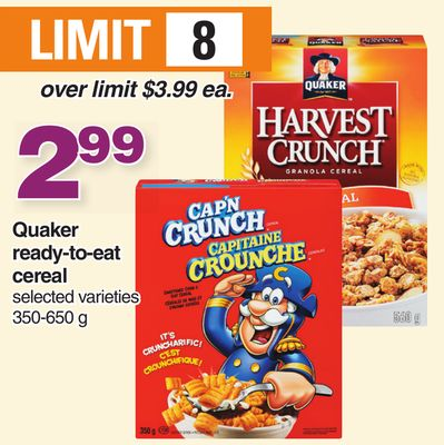 Quaker Ready-to-eat Cereal - 350-650 g