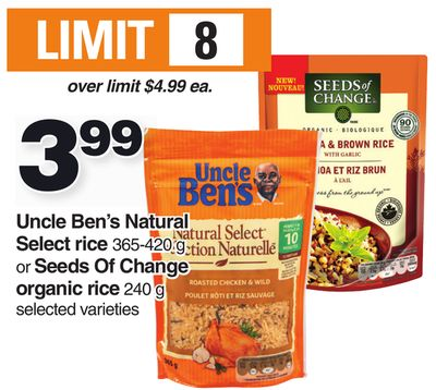 Uncle Ben's Natural Select Rice 365-420 g or Seeds Of Change Organic Rice 240 g