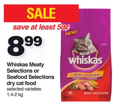 Whiskas Meaty Selections Or Seafood Selections Dry Cat Food