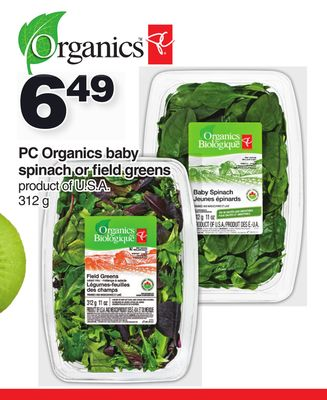 PC Organics Baby Spinach or Field Greens 312 g