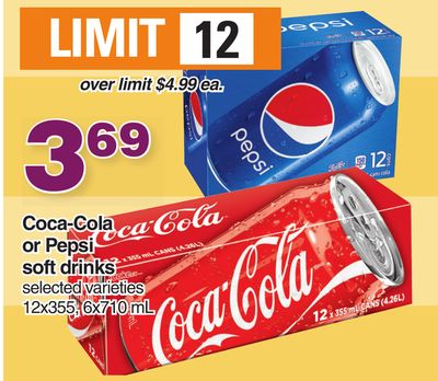 Coca-cola Or Pepsi Soft Drinks 12x355 - 6x710 mL